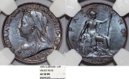 World Coins - Great Britain. Queen Victoria (1837-1901) Cu 1/4 Penny (Farthing) 1895. NGC AU58 BN