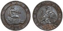 World Coins - Spain. Provisional Government. CU 1 Centimo 1870. Choice XF, nice