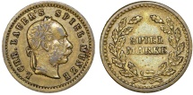 World Coins - Germany. Emperor Josef I of Austria. Game Token (Spiel-Marke) ca.1880. Nice XF, rare