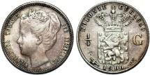 World Coins - Islands of Curacao under Netherlands Rule. Queen Wilhelmina. AR 1/4 Gulden 1900. VF