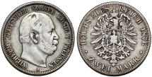 World Coins - Germany. Friedrich Franz II. AR 2 Mark 1876A. About VF, good early date
