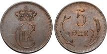 World Coins - Denmark. Christian IX (1863-1907). AE 5 Ore 1874. Choice AU. Scarce