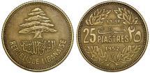 Lebanon. Republic. AL-BRZ 25 Piastres 1952. XF+,toned