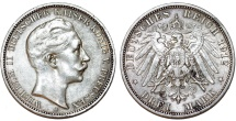 World Coins - Germany Empire. Prussia. Wilhelm II (1888-1918). Silver 3 Mark 1912 A. Toned Choice XF