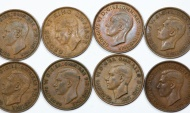 World Coins - British Island & Colonial issues: Lot of 8 coins: 1 Penny 1938-1944. XF-AU