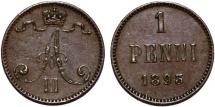 World Coins - Imperial Russia. Finland. Tzar Nicolas II. AE 1 Penni 1893 BN. XF