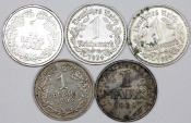 World Coins - Germany: Lot of 5 Coins: Reichsmark 1924-1935. VF-AU