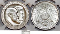 World Coins - Germany. Wuerttemberg. Wilhelm II. Commemorative AR 3 Mark 1911. NGC MS63