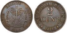 World Coins - Republic of Haiti , SINCE 1863. AE 2 Cent 1886. VF+