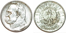 World Coins - Poland. II Republic (1918-1939). AR 5 Zloty 1936. Choice XF