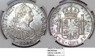 World Coins - MEXICO, Colonial. Carlos IV. King of Spain (1788-1808). Silver 8 Reales 1805 Mo-TH. NGC UNC, details.
