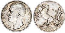 World Coins - Kingdom of Italy. Silver 10 Lire 1927 R. XF+, lightly toned.