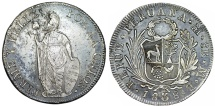 World Coins - PERU. Republic (1821-present). Silver 8 Reales 1838  MB. Nice AU, lusterous