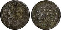 World Coins - Italy Papal States. Rome. Pius VII. CU Quatrino 1802. VF, unclean