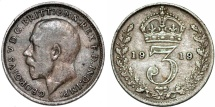 World Coins - Great Britain. King George V (1911-1935) Silver 3 Pence 1919. VF