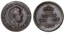 World Coins - Italy. Naples. Ferdinando II. CU Mezzo Tornese 1851. XF