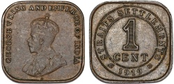 World Coins - British Colony: Straits Settlements. King George V. Square 1 Cent 1919. XF