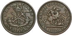 World Coins - Canada. Bank of Upper Canada. AE Penny Bank Token 1850. Choice VF