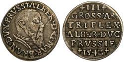 World Coins - Duchy of Prussia (Ex-Teutons State). Albrecht von Hohenzollern (1525-1568) Rare AR 3 Gross 1542. AboutXF