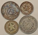 World Coins - Cuba. Republic. Lot of 4 Silver Coins. VF to XF