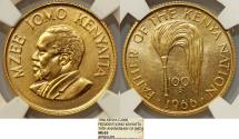 World Coins - Kenya. Republic. Scarce Gold 100 Schillings 1966. NGC MS65