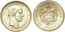 World Coins - Greece. Kingdom. George I (1863-1913). AV 20 Drachmai 1884 A. AU