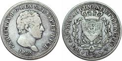 World Coins - Italy. Sardinia. Carl Felix. AR 2 Lire 1825 L. VF