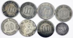 World Coins - Germany. Imperial. Lot of 8 coins. 10 Pfennig tp 2- Pfennig 1875-1900 . about VF-AU+