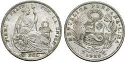 World Coins - Peru. Republic. AR 1/2 Sol 1928.  XF
