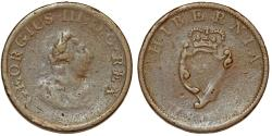 World Coins - Ireland. George III. Bronze ½ Penny 1805. VG++