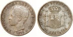 World Coins - Puerto Rico. Alfonso XIII. AR 20 Centavos 1895. Choice VF