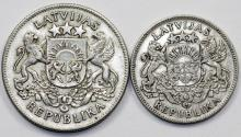World Coins - Latvia. Independent Republic issues. Lot of 2 Silver Coins 1924-1925. XF+