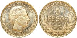 World Coins - Uruguay. Republic. Gold 5 Pesos 1930. Choice XF/AU