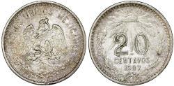 World Coins - Republic of Mexico. AR 20 Centavos 1907. Toned Choice VF