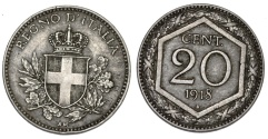 World Coins - Italy. Vittorio Emanuele III. CU-NI 20 Centesimi 1918R. Choice XF