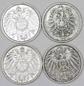 World Coins - Germany. Imperial Period. Lot of 4 Silver coins. 1 Mark 1895-1908. VF+/XF+