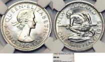 World Coins - New Zealand. Elizabeth II. CuNi Shilling 1965. NGC MS66
