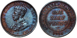World Coins - Australia as part of Commonwealth. King George V. AE Half Penny 1914. Choice AU, toned