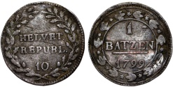 World Coins - Switzerland. Helvetian Republic. Bern. AR 1 Batzen 1799. aVF, toned