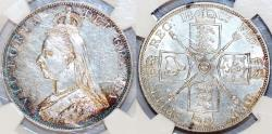 World Coins - Great Britain. Queen Victoria (1837-1901) AR Jubilee 2 Florin 1887. NGC AU58