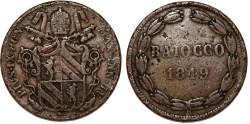 World Coins - Italy. Papal States. Rome. Pope Pius IX (1846-1878). Bronze Baiocco 1849 R. Fine, RARE DATE