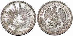 World Coins - Mexico. Republic. AR Peso 1908 Mo AM. Nice AU