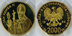 World Coins - Poland. RARE Fold 2000 zloty 1982. Second visit to Poland of Pope John Paul II. NGC PF65 !