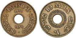 World Coins - British Administration. Palestine. CuNi 10 Mils 1939. Choice VF