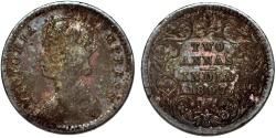 World Coins - British India. Victoria (1840-1901) Silver 2 Annas 1897 B. Toned Fine+