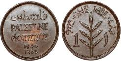World Coins - Palestine. British Administration. AE 1 Mil 1944. UNC