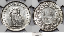 World Coins - Switzerland. Federation. AR 1 Franc 1921. NGC AU58