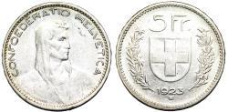 World Coins - Switzerland. Federation. AR 5 Francs 1923. Choice XF