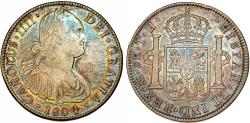 World Coins - Mexico. Charles IV of Spain. AR 8 Reales 1804 Mo TH. Choice XF, beautifly toned!