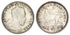World Coins - Ethiopia. Menelik II (1889-1913). AR 1 Gersh 1903 A. VF